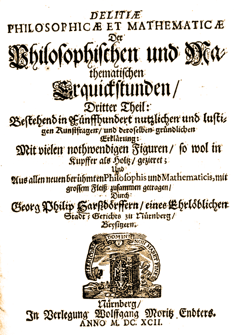 Georg Philipp Harsdörffer: Delitiae Philosophicae et Mathematicae: Title Page