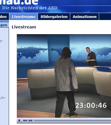 Browserscreenshot mit Livescream der Tagesthemen am 1. Juni 2008