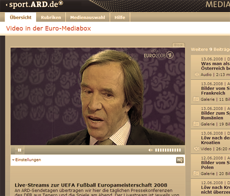 Screenshot mit ARD Website