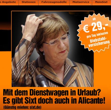 Werbung mit aktuellem Missgeschick der Ministerin.