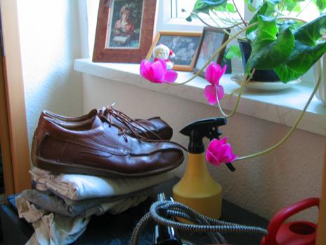 Stillleben mit Schuhen, Bügeleisen und Weihnachtsmann