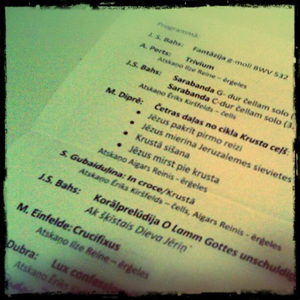 Photo: Ein Kessel Buntes. #Konzert #Ostern #Cello #Orgel #Riga #Per #Crucem #Jana #Johannes
