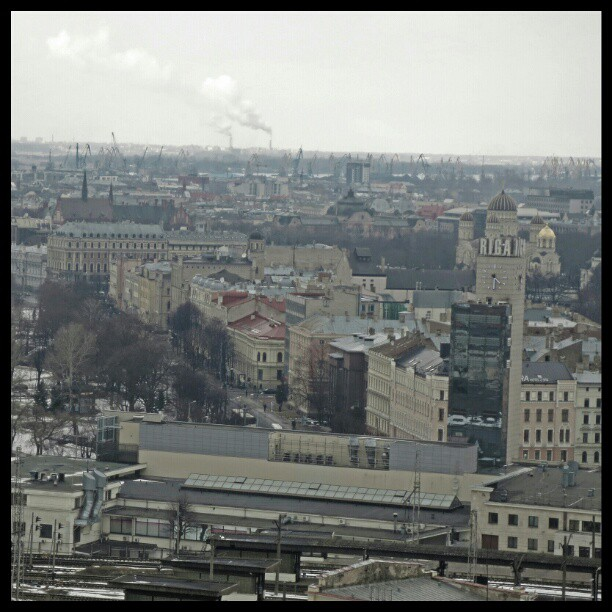 Photo: #industrial #look over #Riga. #harbour #smoke #city #grey #Latvia