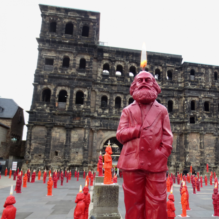 Karl Marx as Candle in front of Trier's Porta Nigra - Photomontage