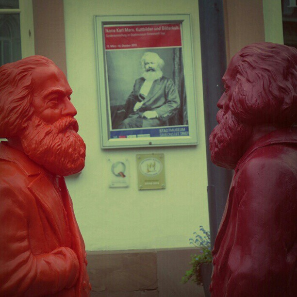Photo: #Marx  discussing the #exhibition about  him with himself . Or so... #Trier #sculpture