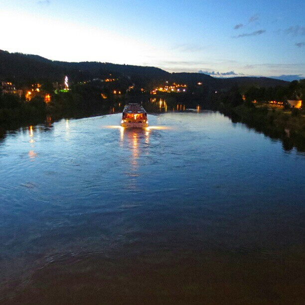 Photo: #Mosel #river seen from the Old #Roman #bridge in #Trier just after #sunset. #ship #crane