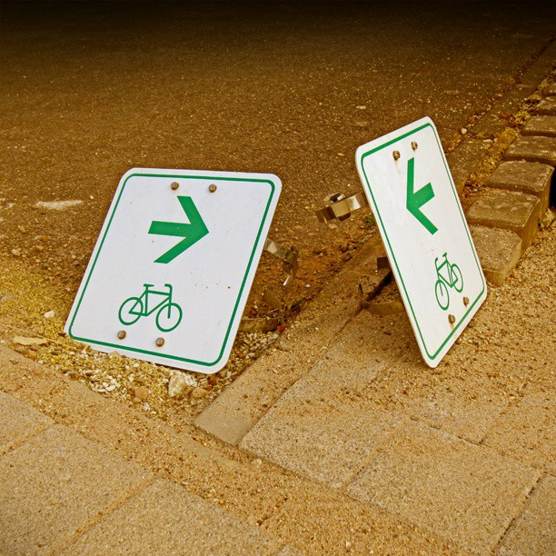 Photo: Missing #poles in #Kenn. #traffic  #sign #cycling #path #roadworks