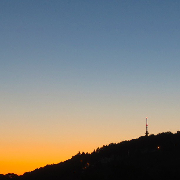 Photo: Early #sunrise over #Petrisberg in #Trier. #sky #Peter #Knutschkurve #cloudless #colours #colors #transition
