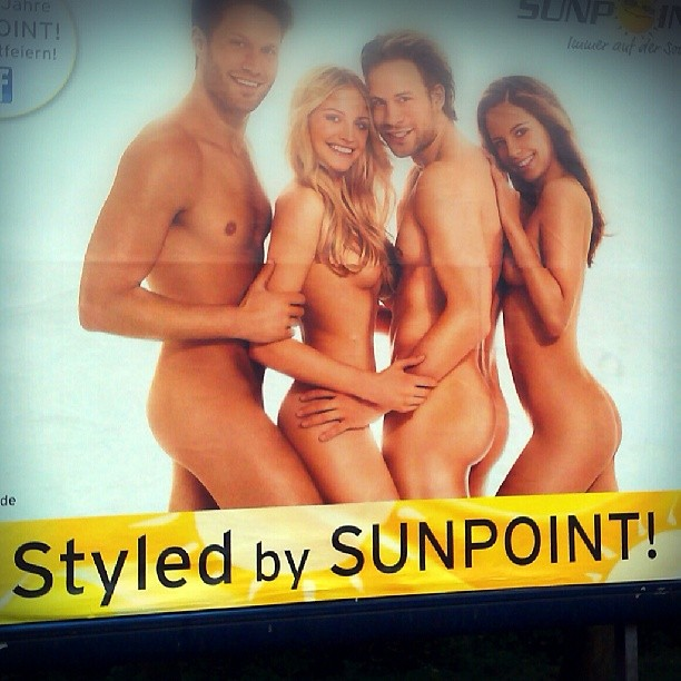 Photo: ... and #Photoshop (+ unachtsamer Plakatkleber). #tanning #ad #naked #nude #women #men #beauty #fail