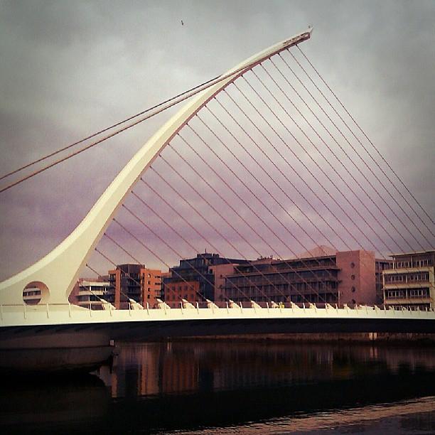 Photo: Giant #harp @ #docks/#Dublin. #Ifsc #bridge
