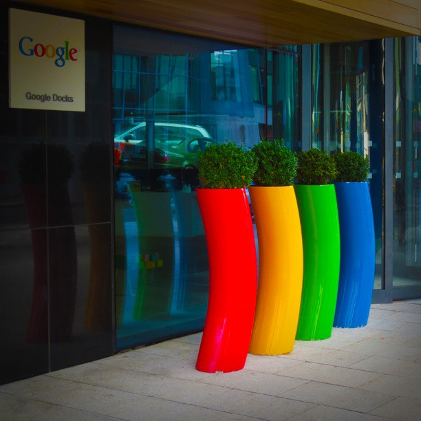 Photo: #Google #Docks #pots #plants #entrance #Dublin #Ireland