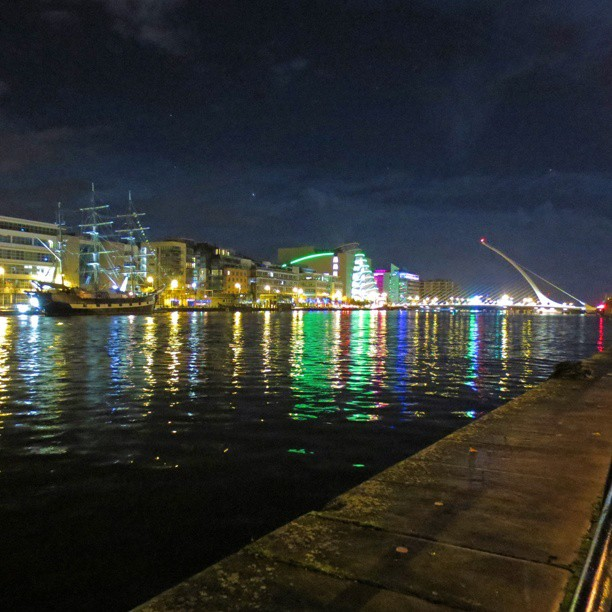 Photo: #Jeanie #Johnston, the #Beckett #bridge and the #convention centre in #Dublin at #night. #colours  #reflection #Liffey #IFSC #docklands #north wall #quay