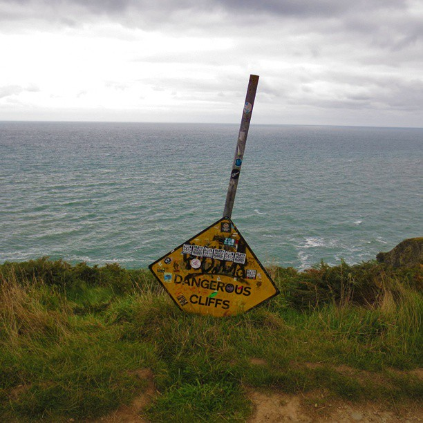 Photo: #Dangerous #cliffs at #Howth. #sign #Dublin #Ireland #coast #sea
