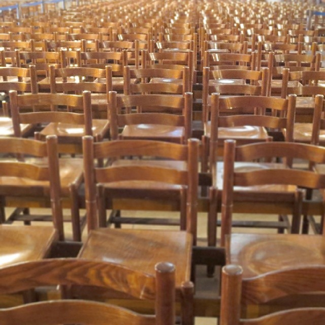 Photo: Rows of  #empty #chairs in #Strasbourg #cathedral. #France #church #seating #landscape