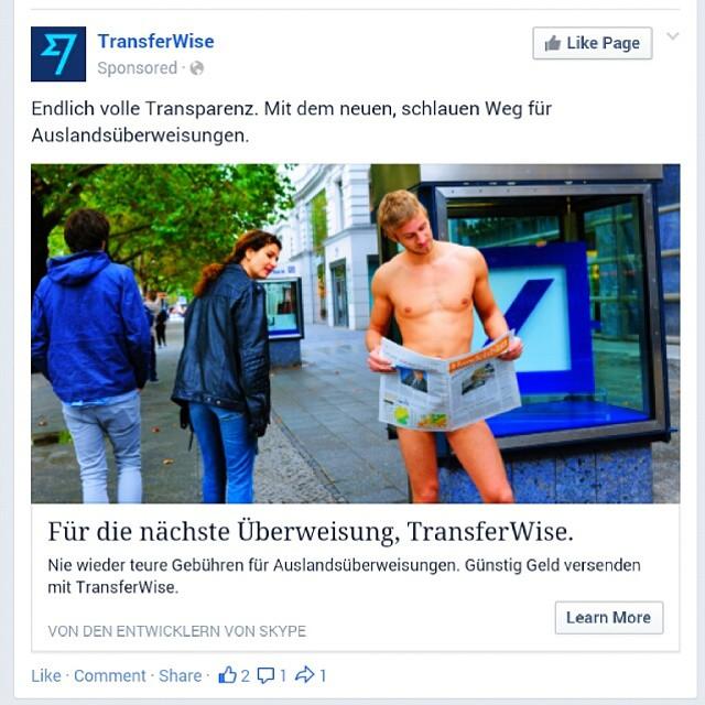 Photo: Kann mir jemand erklären, was mir das Bild in dieser Werbung bei Facebook sagen möchte? #TransferWise #Sex