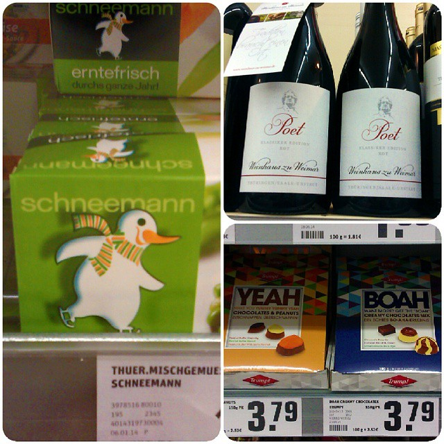 Photo: In der #Kaufhalle. #Schneemann #Yeah #Boah #Jugendsprache #fail #Marketing #Thüringen #Goethe #Wein #Rotwein #Klassiker #Ostthüringen #Supermarkt #Osten #packaging #Einkauf #shopping #Germany #Schokolade #Gemüse #Tiefgefroren