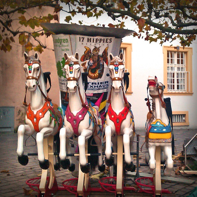 Photo: 17 Hippies? 4 Hippos, I'd rather say--in the original sense of the word. #Christmas #Market #Trier #cathedral #merry-go-round #carousel