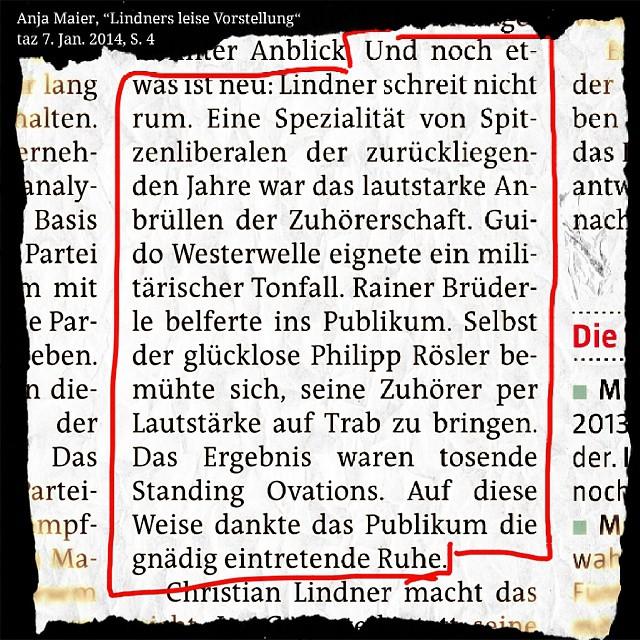 Photo: Sehr schön, die #taz über die Drei-Königs-Rede von #Lindner. Und auch Lila und Pink werden erwähnt in der Zeitung. #FDP #Magenta #Gebrüll #Publikum