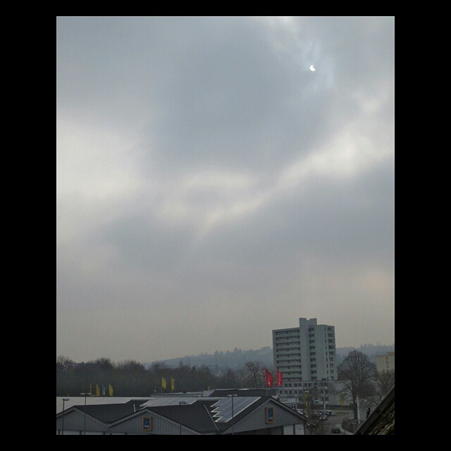 Photo: #Partial #eclipse of the #sun over #Heiligkreuz, #Trier.