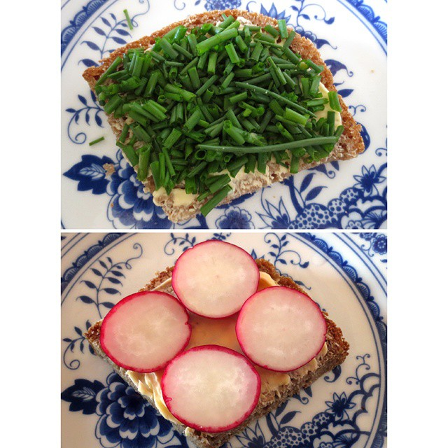 Photo: First #radishes and #chive from the #allotment on home made #bread. #radish #garden