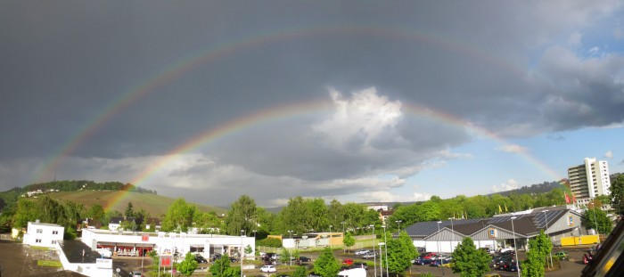 Double Rainbow All the Way over Petrisberg, Trier on 2015-05-20
