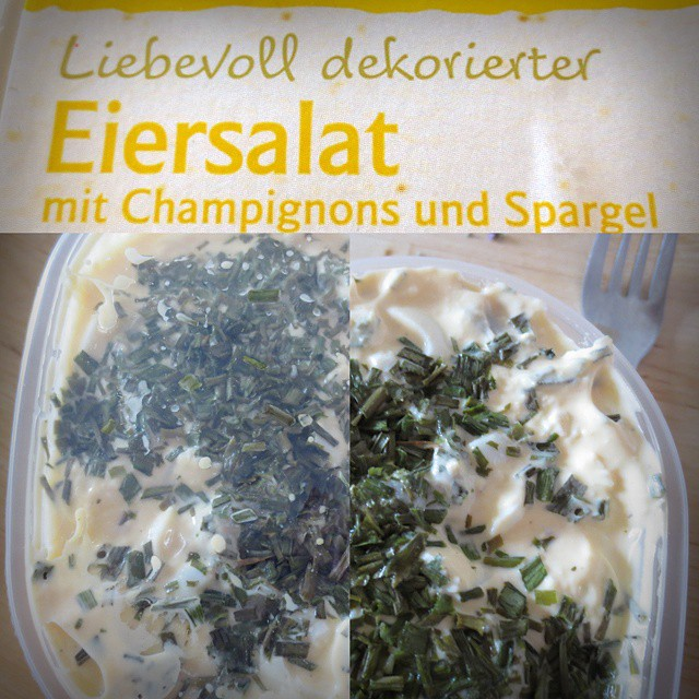 Photo: #Liebevoll dekorierter #Eiersalat. #food #foodporn #yellow #Dekoration #Aldi #packaging #marketing