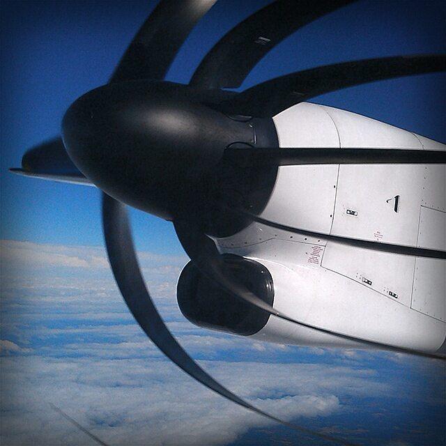Photo: Bent #propeller on the #flight from #Luxembourg to #copenhagen. Dangerous stuff. #airplane