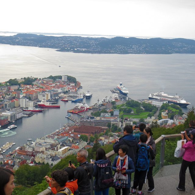 Photo: #View from #Fløien mountain onto #Bergen, #Norway. #ships #Bryggen #håkonshallen