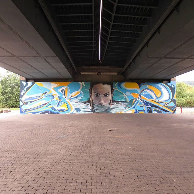 Photo: #Graffiti under Konrad Adenau #bridge in #Trier. #graffitiart #streetart #woman #water #swimming #urban #urbanart