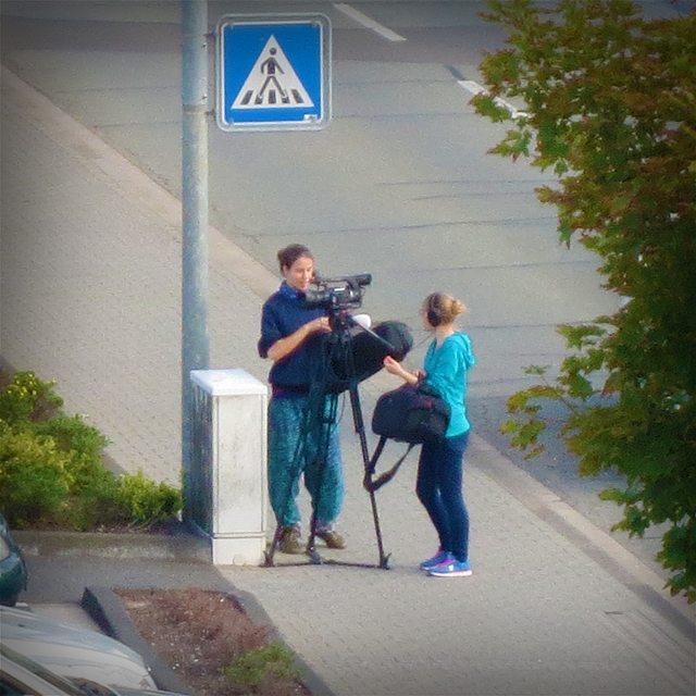 Photo: Der Zebrastreifen in Heiligkreuz scheint die ideale Film-Location zu sein. Vgl. auch https://instagram.com/p/aG5jrNRprz/ .