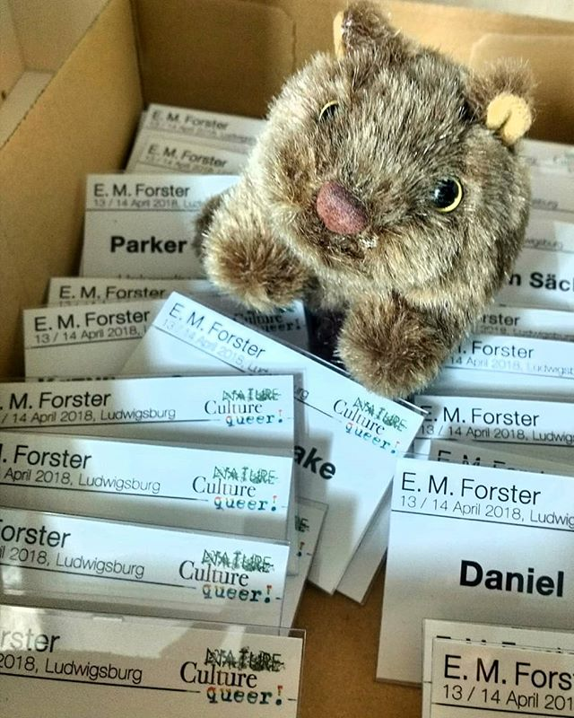 Photo: Little wombat is making new Forsterian friends already. #emforster18 #Ludwigsburg #conference #phludwigsburg#emforster