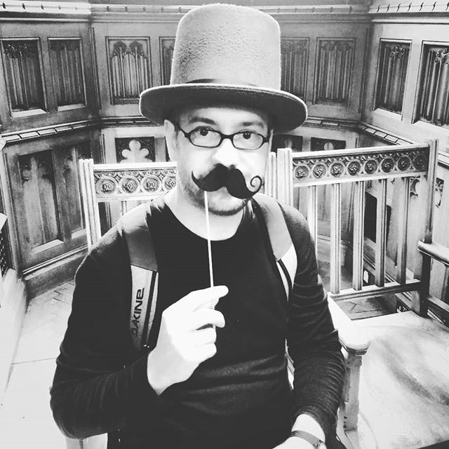 Photo: At @thejohnrylands library, #Manchester. #funnyhat #mustache