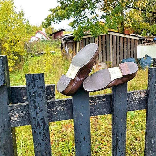 Photo: Meanwhile in #Loksa. #shoes #fence #shed #tree #Estonia