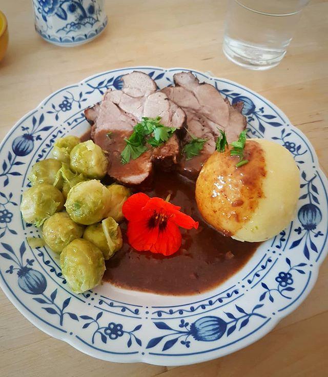 Photo: The #brusselsprouts season has begun. #food #sundayroast #dumpling #pork #roast #foodphotography #bloom